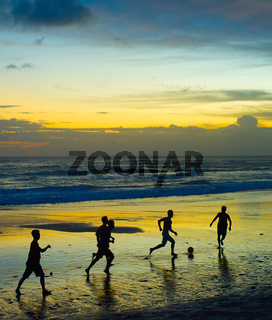 Soccer on the beach. silhouette