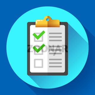 vector clipboard with green checklist icon flat