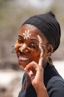 Native Malagasy Sakalava ethnic girls, beauties with decorated face