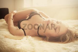 sensual girl lying