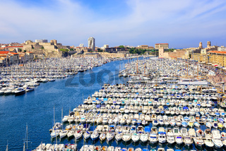 Old Port in the city center of Marseilles, France