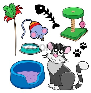 Cats collection on white background - isolated illustration.