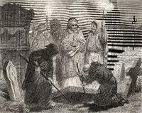 Exhumination  of John Wycliffe, 1330 - 1384, an English church reformer
