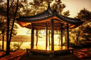 korean pagoda by the lake