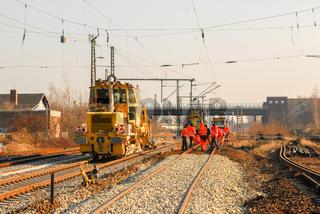 Gleisbau-Maschine im Einsatz