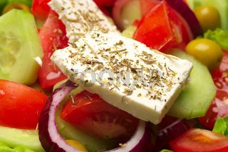 Closeup view of fresh greek salad