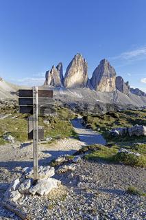 Drei Zinnen, Dolomiten, Sexten, Region Trentino-Südtirol, Italien, Europa
