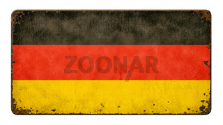 Vintage metal sign on a white background - Flag of Germany