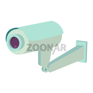 Video surveillance security camera flat icon isolated vector illustration