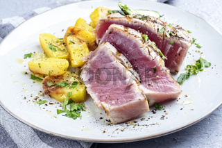 Tuna Steak with Fries