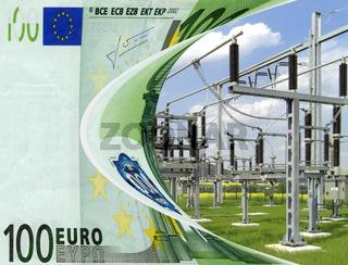 Strompreis - Umspannwerk mit Hochspannungsleitungen und Isolatoren unterlegt mit Euronoten