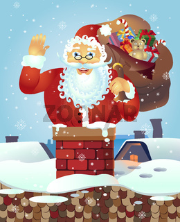 Santa on the roof with a bag of gifts and waving hand.Christmas card poster banner. Vector illustration.