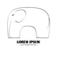 elefant vereinfacht als logo oder illustration