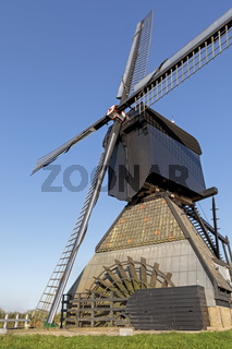 Historische Windmühlen, Kinderdijk, Provinz Südholland, Niederlande, Europa