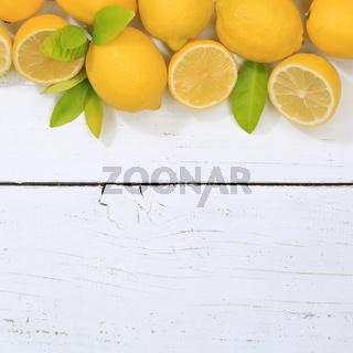 Zitrone Zitronen Früchte quadratisch Textfreiraum von oben