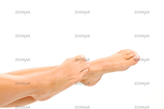Legs of a woman against a white background. Free parking