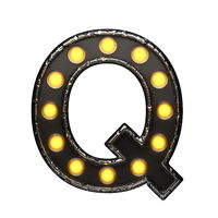 q metal letter with lights. 3D illustration
