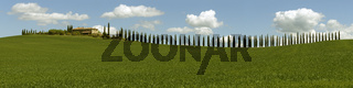 Tuscany panorama with farmhouse and cypresses