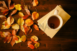Cup of tea, books and autumnal foliage
