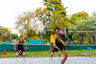 Thai Men Playing Sepak Takraw Takro