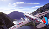 DC3 flying over mountains and lake, with blue sky and clouds on background.
