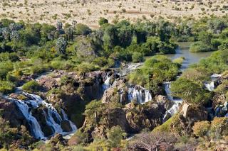 Epupfälle an der Grenze zu Angola, Kunene Fluss, Kaokoveld, Namibia, Afrika, Epupa Falls, Cunene River, Africa
