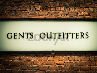 Vintage Gents Outfitters Sign