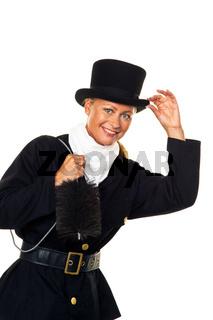 Frau als Schornsteinfeger