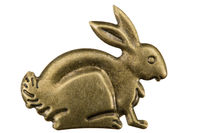 Filigree in the form of a profile of a hare, decorative element for manual work, isolated on white, with clipping path background