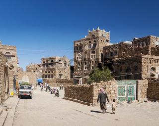 street in traditional old yemeni shibam village near sanaa yemen