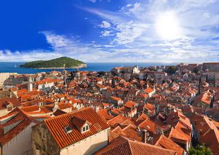 Town Dubrovnik in Croatia at sunset
