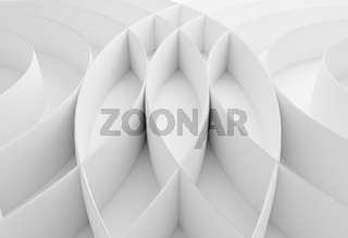 Abstract white curved border lines background with wavy intersecting lines 3d illustration