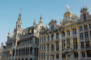 Old beautiful facade at Grand Place in Brussels, Belgium