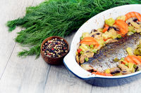 Baked seabass fish
