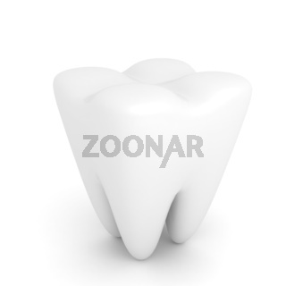 Tooth over white background