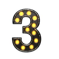 3 metal letter with lights. 3D illustration