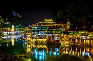 Fenghuang downtown at night, Xiangxi, China