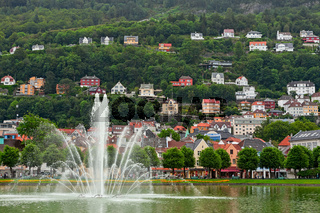Fountain view in the lake in Bergen, Norway
