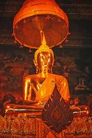 Statue of a golden Buddha inside a temple