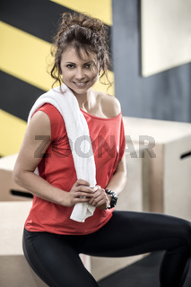 Athletic woman in gym