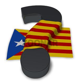 flagge von katalonien und fragezeichen - 3d illustration