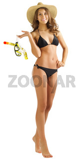 Young girl in bikini isolated