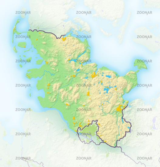 Schleswig-Holstein, Reliefkarte.