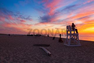 Stunning sunset on the empty beach, Cape Cod, USA
