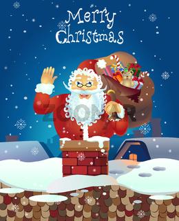 Santa Claus cartoon waving hand. Santa Claus with a raised left hand. Cartoon character