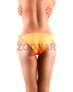 Sexy female body isolated on white background. Weight loss