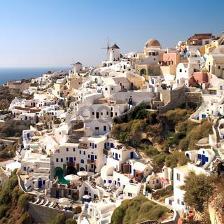Amazing landscape view of Oia village in Santorini island.