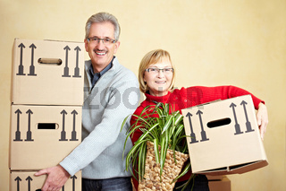Zwei Senioren tragen Umzugskartons