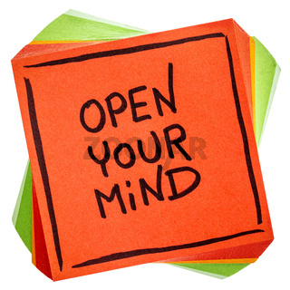 open your mind advice or reminder note