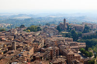 Aerial View on the City of Siena and Nearby Hills, Tuscany, Italy